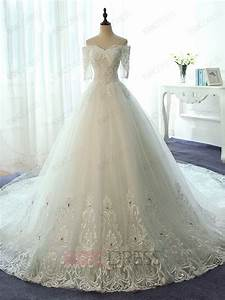 ericdress elegant off the shoulder ball gown lace wedding With fancy wedding dress