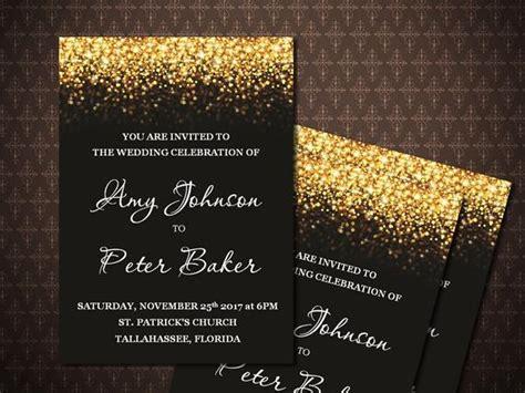 Black Gold Glitter Wedding Invitation Black and Gold Etsy