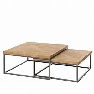Table Basse Fer Et Bois : set de deux tables basse fer et bois naturel achat vente table basse set de deux tables ~ Teatrodelosmanantiales.com Idées de Décoration