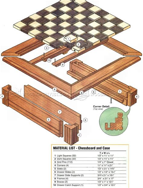 chess board plans woodarchivist