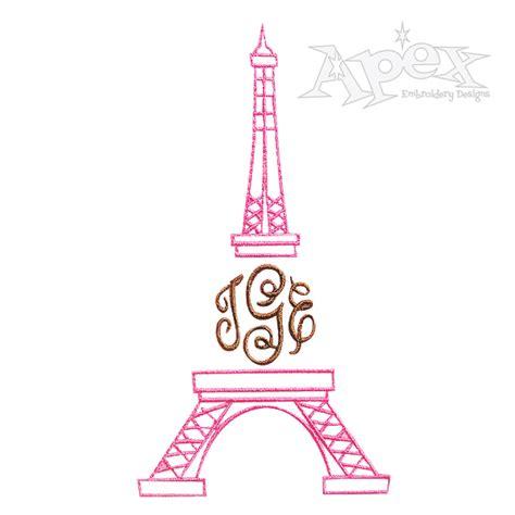 eiffel tower embroidery monogram frame