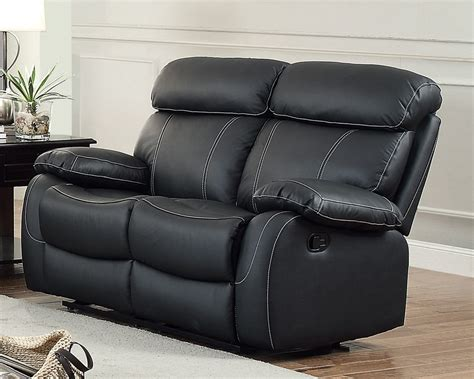 Loveseat Recliner by Homelegance Pendu Top Grain Black Leather Reclining Loveseat
