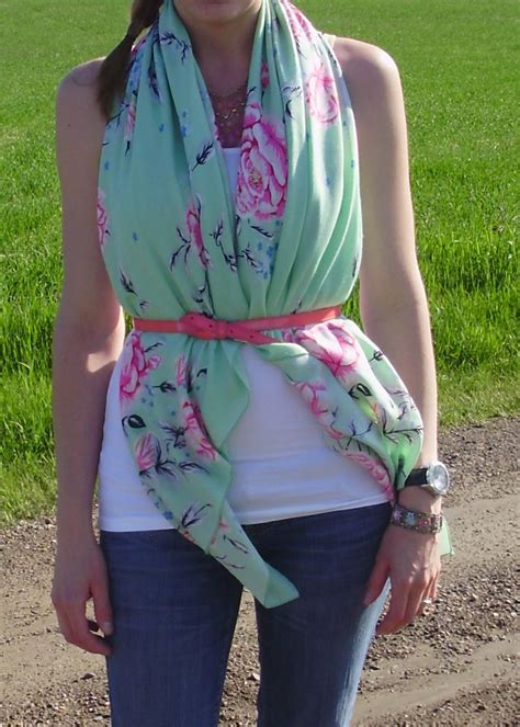 Scarf Draping Styles - drape scarf a white tank top add a belt new blouse