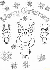 Coloring Christmas Merry Card Pages Cards Cartoon Printable Reindeer Santa Reindeers Print Sheets Animal sketch template
