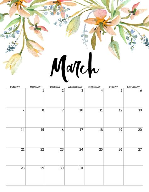 March 2021 Calendar Cute Free Printable Calendar Templates.