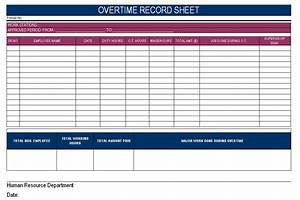 overtime record sheet With overtime log template