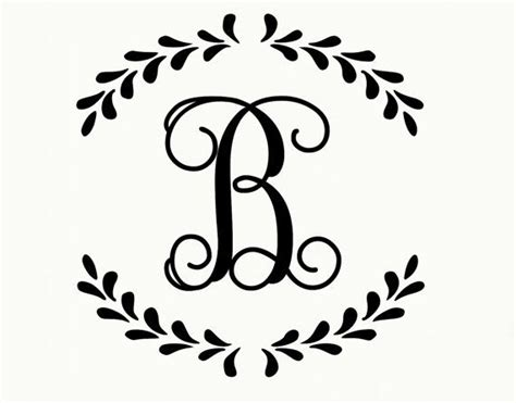 monogram decal laurel monogram wreath vinyl lettering wall decal vine font single initial