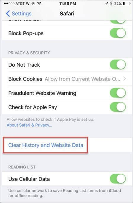how to clear safari history on iphone iphone clear safari browsing history and website data 1584