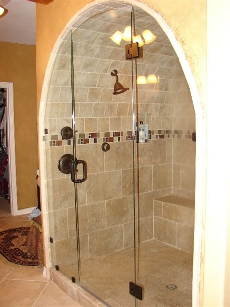 bathroom showers ideas copper shower fixture in arched shower area bathroom