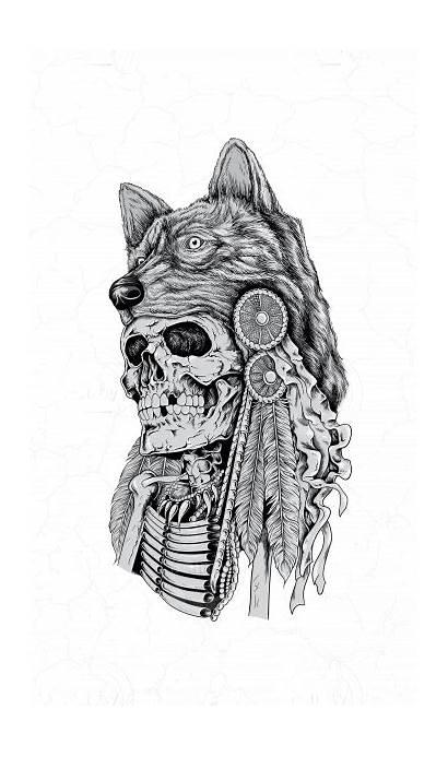 Wolf Headdress Drawing Skeleton Drawings Wearing Illustrator
