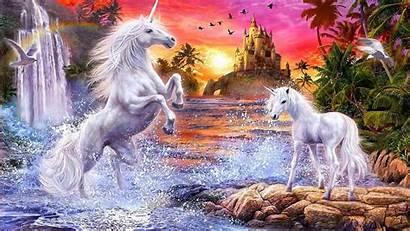 Fantasy Unicorns Castle Flowers Birds River Falls