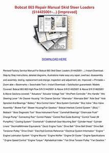 Bobcat 863 Repair Manual Skid Steer Loaders 5 By