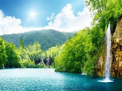 Nature Wallpapers Waterfall Summer Lake Natural Trees
