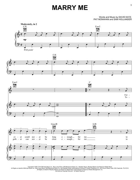 marry me sheet music by train piano vocal guitar