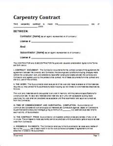 Carpenter Resume Bullets by Sle Carpentry Contract Template For Ms Word Document Hub
