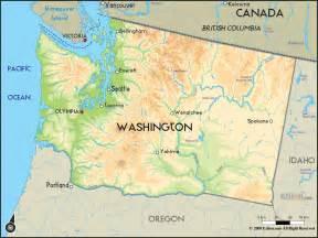 Geographical Map of Washington and Washington Geographical Maps Washington