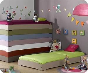 Pack lit enfant empilable lin 90x190 cm avec sommier matelas for Deco chambre enfant avec achat matelas latex 90x190