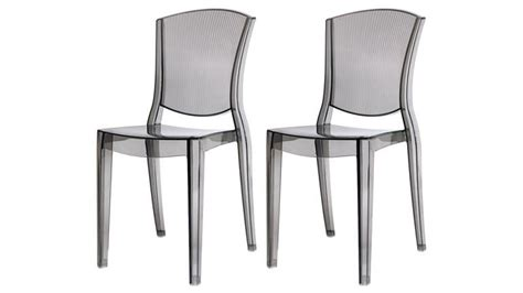 chaises plexi lot de 2 chaises design empilables transparentes en