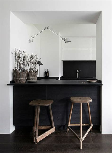 small black kitchen island 34 timelessly black and white kitchens digsdigs 5354