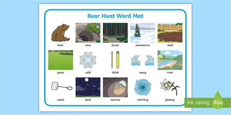 bear hunt word mat images teacher
