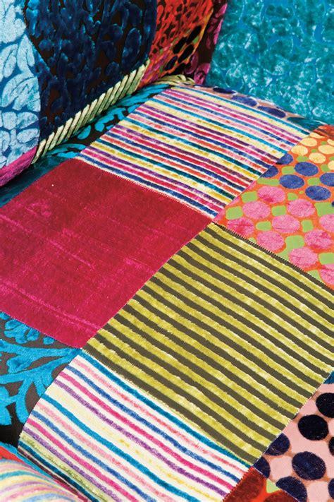 upholstered high  fabric armchair patchwork velvet