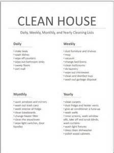 Clean House List Printable