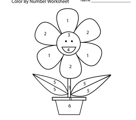 simple color number printables