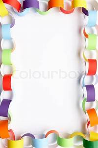 Border made from colourful paper chain against white
