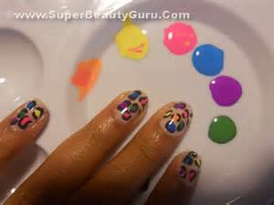 Colorful leopard print nail tutorial how to paint a