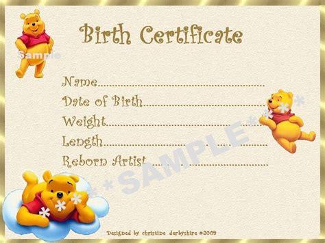 winnie  pooh birth certificatecertificates  reborn