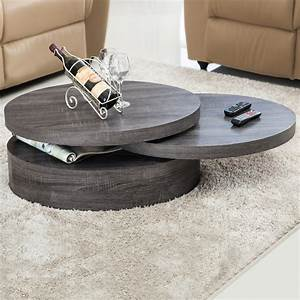 modern contemporary black oak round rotating wood coffee With rotating wood coffee table