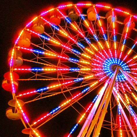 Carnival Lights by Ferris Wheel Fair Carnival Lights Country Summer