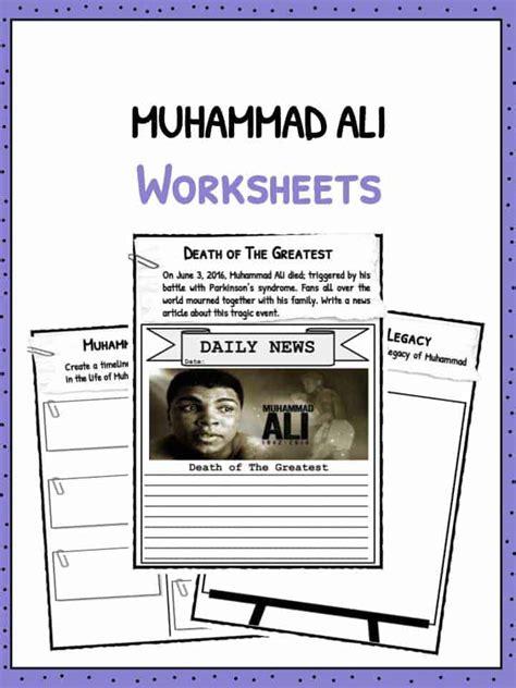 muhammad ali facts worksheets  kids teaching resource