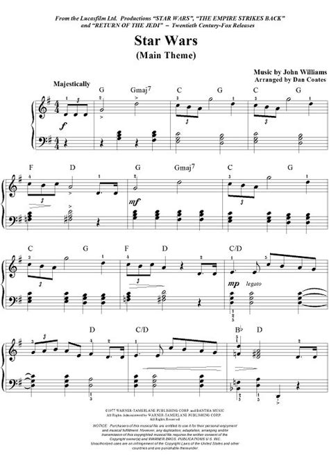 star wars main theme sheet music by john williams