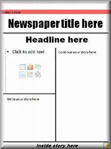 Blank front page newspaper template for Free printable newspaper template for students