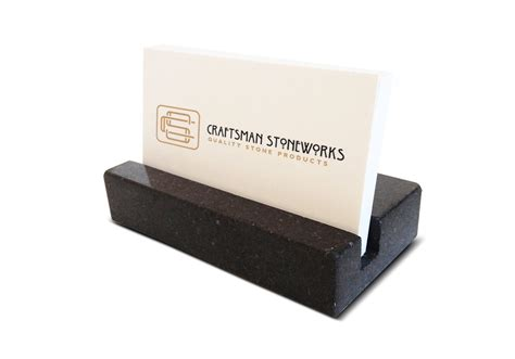 business card holder black absolute granite office desk