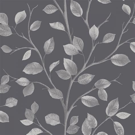 fine decor woodland leaf wallpaper black silver fd wallpaper   love wallpaper uk