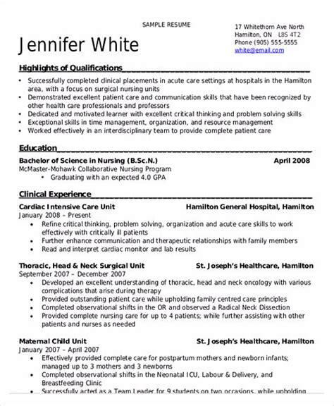 functional resume for canada joblers certified nursing