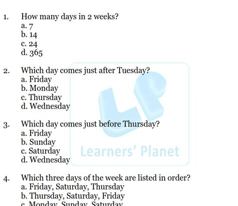 days   week mcq worksheet