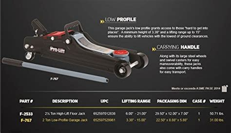 Pro Lift F-767 Grey Low Profile Floor Jack Lifting Range 3