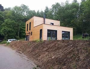 Maison bois cubique à toit plat Nos maisons ossatures bois Maison cubique