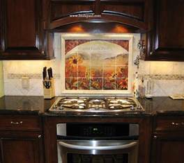 Tile Backsplash Kitchen Sunflower Kitchen Decor Tile Murals Western Backsplash Of Sunflowers