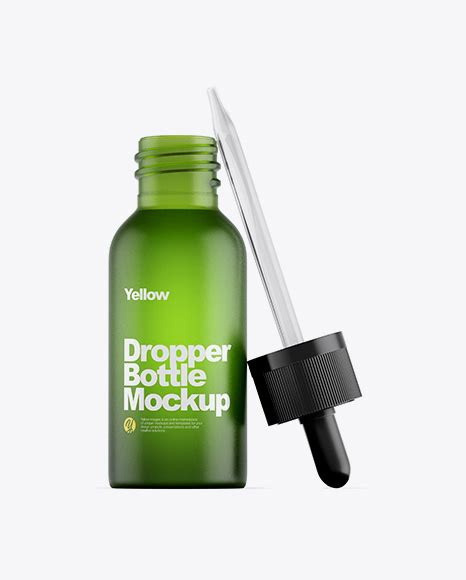 All free mockups include smart objects for easy edit. Frosted Amber Glass Dropper Bottle Mockup - Green Glass ...