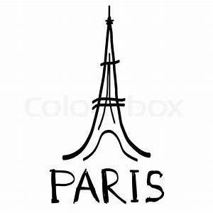 Eiffel Tower icon in sketch style with hand drawn word ...