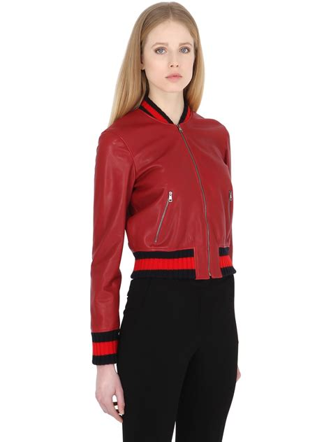 fleece bomber jacket lyst gucci embroidered leather bomber jacket in