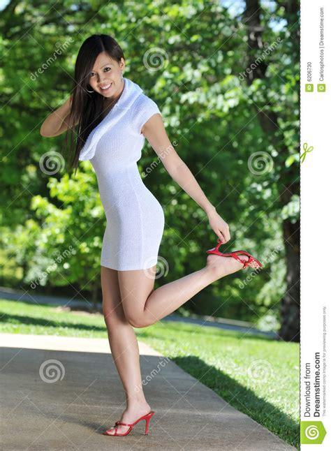 gorgeous asian girl modeling stock photo image  white