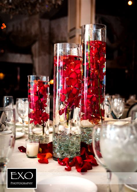 Red Flower Centerpiece And They Lived Happily Ever