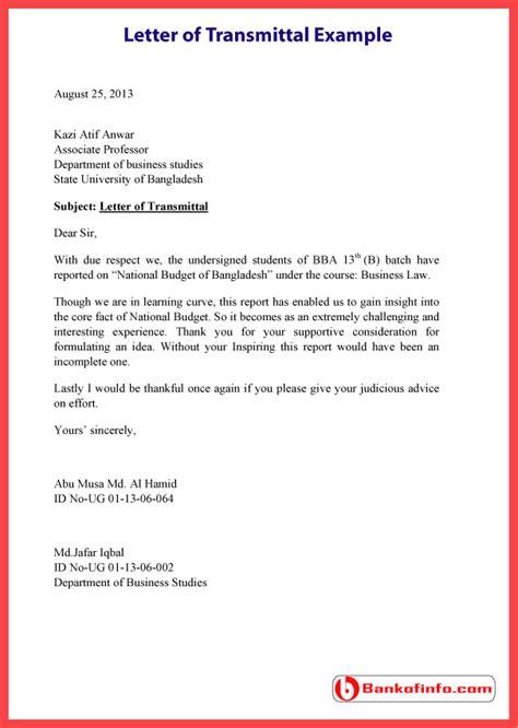 letter  transmittal  template sample format