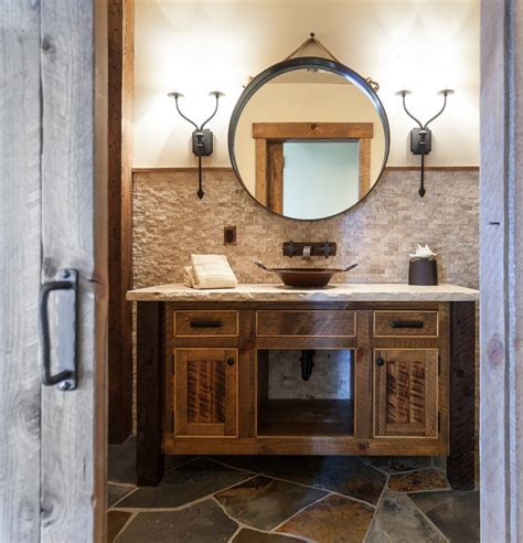 extraordinary reclaimed wood vanity with cabin white