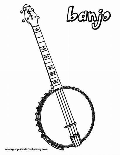 Musical Coloring Banjo Guitar Printables Instruments Instrument
